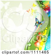 Clipart Background Of Butterflies And A Rainbow 1 Royalty Free Vector Illustration