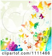 Clipart Background Of Butterflies And A Rainbow 2 Royalty Free Vector Illustration
