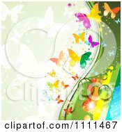 Clipart Background Of Butterflies And A Rainbow 3 Royalty Free Vector Illustration by merlinul