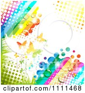 Clipart Background Of Butterflies And A Rainbow 4 Royalty Free Vector Illustration by merlinul