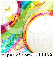 Clipart Background Of Butterflies And A Rainbow 6 Royalty Free Vector Illustration