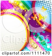 Clipart Background Of Butterflies And A Rainbow 7 Royalty Free Vector Illustration