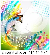 Clipart Background Of Butterflies And A Rainbow 10 Royalty Free Vector Illustration