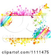 Clipart Background Of Butterflies And A Rainbow 5 Royalty Free Vector Illustration