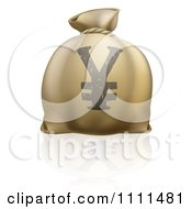 Clipart 3d Money Bag With A Yen Currency Symbol And Reflection Royalty Free Vector Illustration by AtStockIllustration