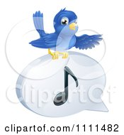 Clipart Pointing Bluebird On A Music Note Speech Balloon Royalty Free Vector Illustration