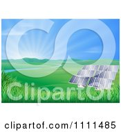 Clipart Valley With Solar Panels Creating Sustainable Energy Royalty Free Vector Illustration by AtStockIllustration