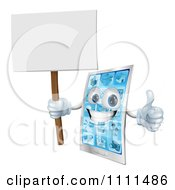 3d Smart Phone Mascot Holding A Thumb Up And A Blank Sign