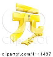 Clipart 3d Golden Gold Yuan Lock And Key With A Reflection Royalty Free Vector Illustration by AtStockIllustration