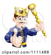 Clipart Pleased King Holding A Sceptre And Thumb Up Royalty Free Vector Illustration