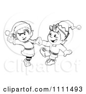 Clipart Outlined Happy Christmas Elves Dancing Together Royalty Free Vector Illustration