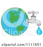 Clipart Water Faucet Attached To Earth Royalty Free Vector Illustration