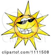 Happy Sun Grinning And Wearing Sunglasses by Hit Toon