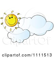 Happy Sun Grinning Over Clouds by Hit Toon