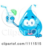 Water Drop Holding A Drink Over A Sign by Hit Toon