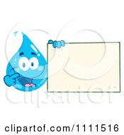 Water Drop Holding And Pointing To A Sign by Hit Toon