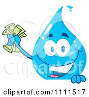 Clipart Water Drop Holding Money Over A Sign Royalty Free Vector Illustration by Hit Toon