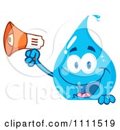 Water Drop Holding A Megaphone Over A Sign by Hit Toon