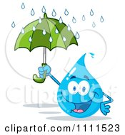Water Drop Holding An Umbrella In The Rain by Hit Toon