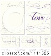 Clipart Love And Swirl Frames And Wedding Cards With Sample Text Royalty Free Vector Illustration by BestVector