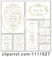 Clipart Wedding Invitation Designs With Sample Text And Gold Swirls Royalty Free Vector Illustration