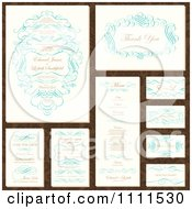 Clipart Wedding Invitation Designs With Sample Text And Blue Swirls Royalty Free Vector Illustration
