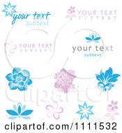 Pink And Blue Flower Logos And Sample Text