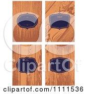 Clipart Blue Frames Over Wood Grain Royalty Free Vector Illustration