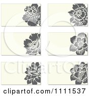 Clipart Gray Flowers And Beige Business Card Designs Royalty Free Vector Illustration