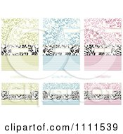 Clipart Green Blue And Pink Floral Vine Invitations And Cards Royalty Free Vector Illustration