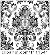 Clipart Seamless Black And White Vintage Floral Pattern 3 Royalty Free Vector Illustration
