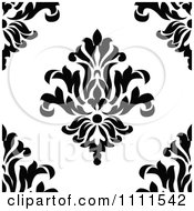 Clipart Seamless Black And White Vintage Floral Pattern 4 Royalty Free Vector Illustration