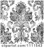 Clipart Seamless Black And White Vintage Floral Pattern 2 Royalty Free Vector Illustration