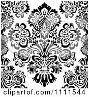 Clipart Seamless Black And White Vintage Floral Pattern 1 Royalty Free Vector Illustration