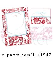 Clipart Red Floral Frame And Thank You Card On White Royalty Free Vector Illustration