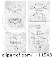 Clipart Swirl Frame And Thank You Save The Date And Welcome Text On Distressed Gray Royalty Free Vector Illustration by BestVector