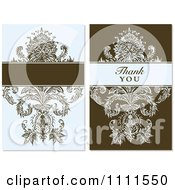Clipart Vintage Blue And Brown Floral Designs With Blank Space And Thank You Text Royalty Free Vector Illustration