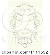 Clipart Ornate Swirl Frame On Beige Royalty Free Vector Illustration