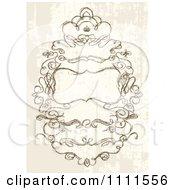 Clipart Ornate Sketched Swirl Frame On Grunge Royalty Free Vector Illustration