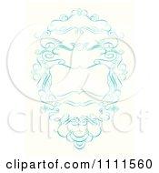 Clipart Ornate Blue Swirl Frame Royalty Free Vector Illustration