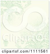 Clipart Distressed Green Flowers On Beige With Copyspace Royalty Free Vector Illustration