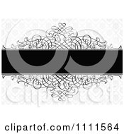 Clipart Black Ornate Swirls With A Text Bar On A Floral Pattern Royalty Free Vector Illustration