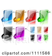 Clipart 3d Colorful Square Buttons And Arrows With Reflections Royalty Free Vector Illustration