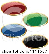 3d Reflective Colorful Oval Labels With Rays And Gold Trim