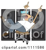 Clipart Chubby Man Rocking Out To Music Wearing Headaphones And Rolling In A Chair By A Stereo Royalty Free Vector Illustration