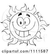 Clipart Cheerful Outlined Sun Mascot 2 Royalty Free Vector Illustration