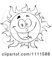 Clipart Cheerful Outlined Sun Mascot 1 Royalty Free Vector Illustration