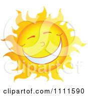 Clipart Cheerful Sun Mascot With A Big Smile Royalty Free Vector Illustration