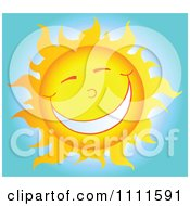 Clipart Cheerful Sun Mascot In The Sky 2 Royalty Free Vector Illustration