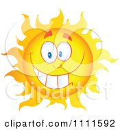 Clipart Cheerful Sun Mascot Grinning Royalty Free Vector Illustration